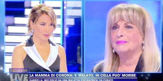 """A """"Live"""", la madre di Fabrizio Corona disperata: """"Rischia di morire"""""""